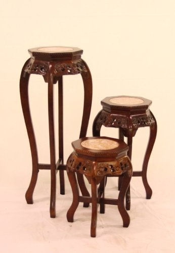 (Oriental Furnishings Asian Mahagony Hexagonal plant stand with Marble top - Unique Floral Hand Carved Design - 36