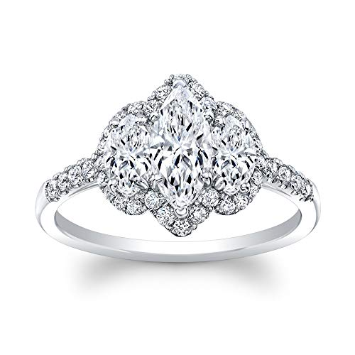 3 Stone Marquise Cut Diamond Set in 18K White Gold Single Shank Pave Ring (Certified AGS H-I, SI1, 2 Side Stones .53 TW, 36 Full Cuts .28 TW)