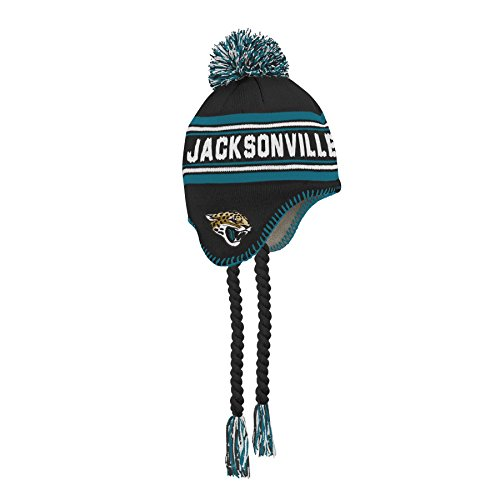 NFL Jacksonville Jaguars Jacquard Tassel Knit Hat with Pom Black, Youth One Size