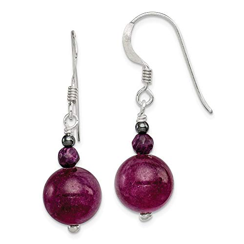 925 Sterling Silver Purple Coral Hematite Jade Drop Dangle Chandelier Earrings Fine Jewelry Gifts For Women For Her