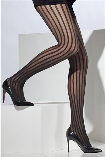 Fever Women's Sheer Tights with Vertical Stripes, Black, One Size,5020570427200