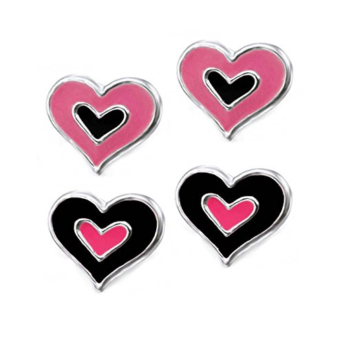 SL de Silver 2pieza Juego de pendientes corazón dos colores 925plata en caja de regalo