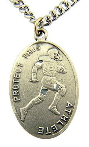 WJH Silver Tone Patron of Sports Saint Sebastian Football Athlete Medal, 1 ()