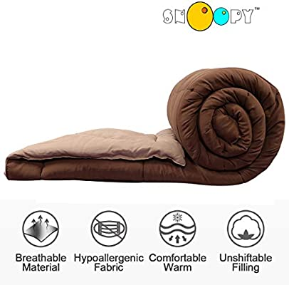 Snoopy casa Ultra suave microfibra Reversible café & beige doble cama Colcha (250 g/m² relleno, calidad de hotel)