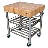 Cheap John Boos Wine Cart with Cherry Top