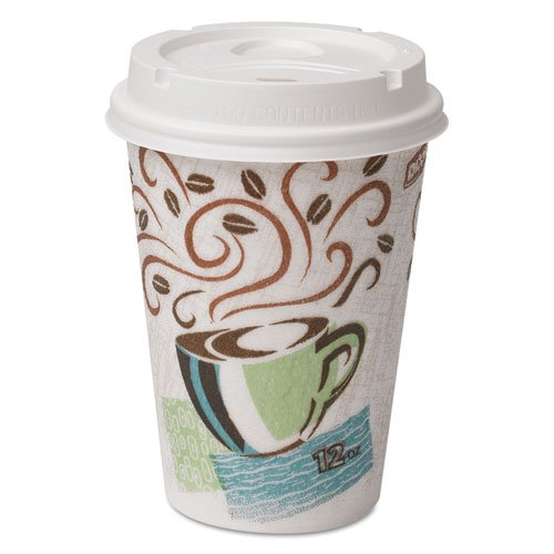 Dixie® - Combo Box, Paper Hot Cups,12 oz, 50 Cups/White Lids per Pack - Sold As 1 Pack - Combines PerfecTouch® cups and drink-thru lids in a single pack.