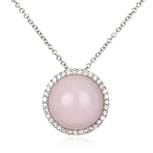 Rhodium Plated Silver Cabochon Pink Peruvian Opal ()
