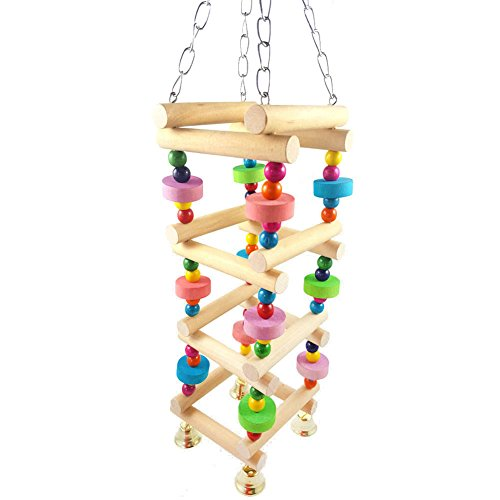 gLoaSublim Bird Toys, Colorful Beads Natural Wooden Ladder Stand Parrot Bird Climb Chew Toy with Bell - Random -