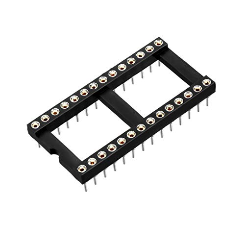 uxcell 6pcs 2.54mm Pitch 15.24mm Row Pitch2 Row 28 Round Pins Soldering DIP IC Chip Socket Adaptor