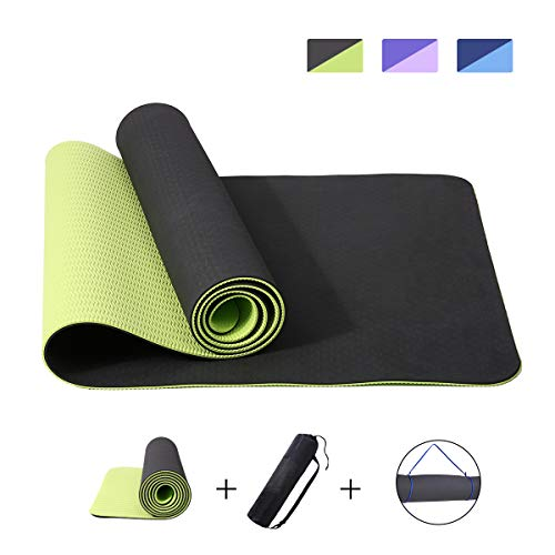 """Cheap Slimerence Yoga Mat 72 X 24"""" Non-Slip, Eco Friendly TPE Workout Mat Exercise Anti-Tear Mat, for Pilates Fitness Exercise Sport, with Yoga Bag Carrying Strap Dark Green"""