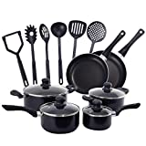x large fry pan - Costzon 16-Piece Non-Stick Cookware Sets, Aluminum 2 Fry Pans, 2 Saucepans and 2 Dutch Ovens with Glass Lids, 6 Cooking Utensils for Kitchen