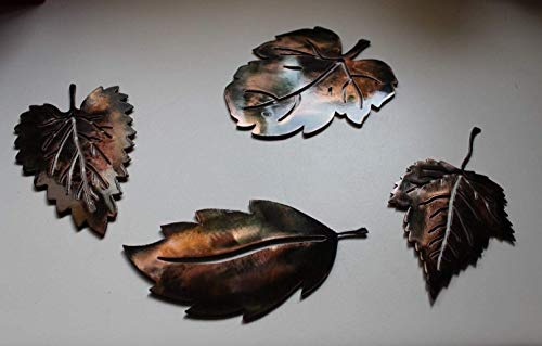 METAL WALL ART LEAFS (4) SMALL COPPER/BRONZE PLATED