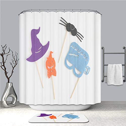 BEICICI Creative Shower Curtain and Bath mat Rug Photo Booth Colorful Props for Halloween Party Witch hat Monster Shaped mask Pumpkin Shaped tie Cat Custom Stylish,Waterproof, Proof Bathroom Set