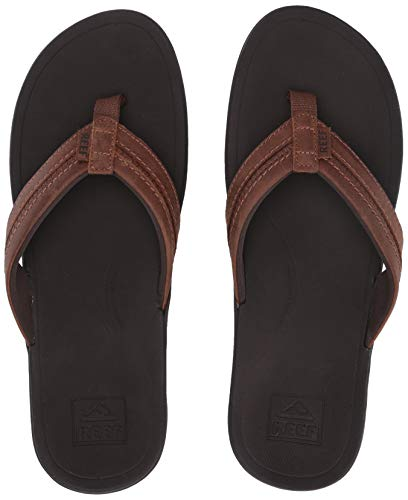 REEF Men's Leather Ortho-Bounce Coast Sandals, Brown, Size 12