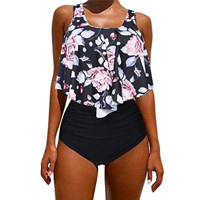 OMKAGI Women's Ruffle Bikini Swimsuit High Waisted Bottom Plus Size Swimwear Tankini: Clothing