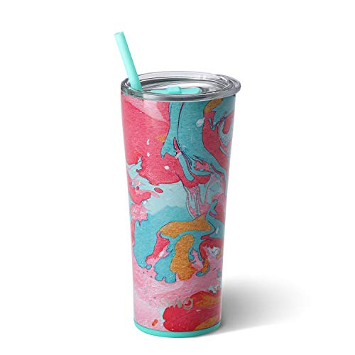 Lead Cotton Candy - Swig Life Stainless Steel Signature 22oz Tumbler with Spill Resistant Slider Lid and Reusable Straw in Cotton Candy