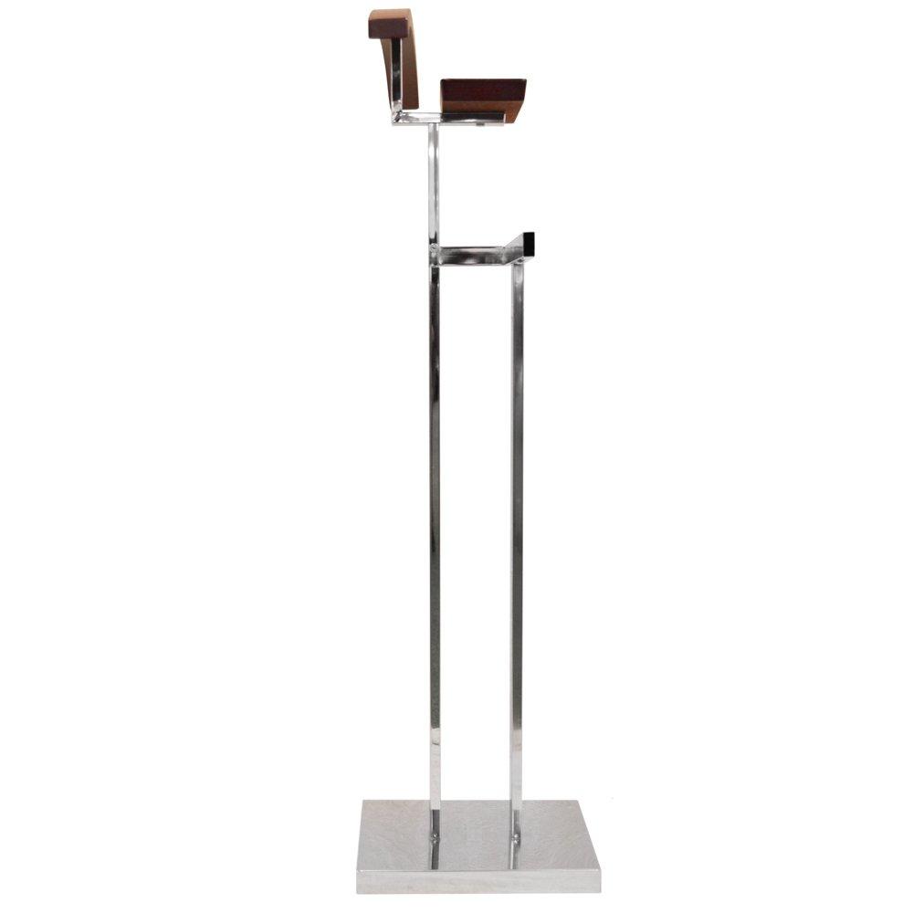 TROMSO - perchero valet de ropa de metal color plateado y nogal