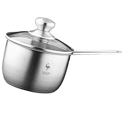 Fityle Stainless Steel Cookware Saucepan Pan Pot Kitchen Milk Food Cooking Tool - with Lid by Fityle
