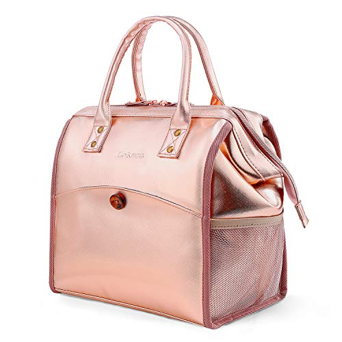CoolBELL Lunch Bags For Women Lunch Tote Water-Resistant Cooler Bag Leak Proof Lunch Box Insulated Lunch Holder With Wide Opening for Women/Men/Office/School (Rose Gold)