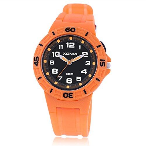 Boys girls multi-function quartz sports watch, 100 m waterproof led jelly resin strap outdoor fashion children wristwatch-B by CDKIHDHFSHSDH
