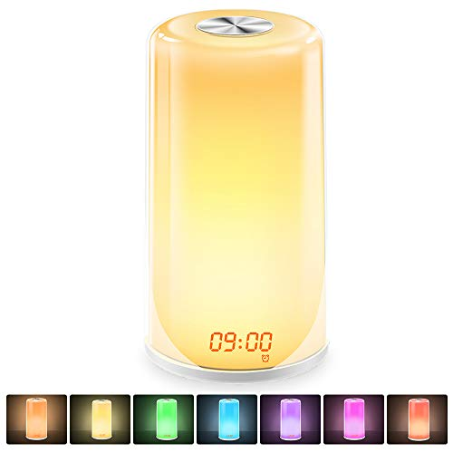 Wake-Up Light Alarm Clock- Sunrise Simulation Digital LED Clock with 5 Natural Sounds & Snooze Function for Heavy Sleepers - Touch Control Dimmable Bedside Lamp, 7 Colors Night Light for Bedrooms