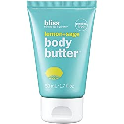 bliss Body Butter | Lemon + Sage | Paraben Free Maximum Moisture Cream | Body Lotion For Dry Skin | Instant Long-Lasting Moisturizer for Women & Men | Mini Travel Size | 1.7 oz.