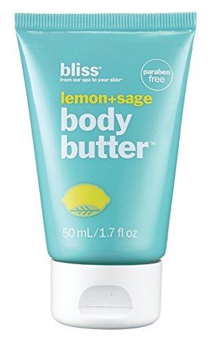 bliss Body Butter | Lemon + Sage | Paraben Free Maximum Moisture Cream | Body Lotion For Dry Skin | Instant Long-Lasting Moisturizer for Women & Men | Mini Travel Size | 1.7 oz. ()
