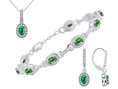 """RYLOS Matching Set Tennis Bracelet, Earrings & Necklace with Oval Shape Gemstone & Halo of Genuine Diamonds in Sterling Silver .925-6X4MM Color Stones - Adjustable to Fit 7""""-8"""" Wrist & 18"""" Chain"""