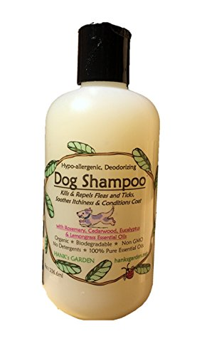 Organic DOG/cat Shampoo - All Natural - Biodegradable - No GMO's - Hypo-Allergenic - Deodorizing - Soothes Itchiness - Repels & Kills Fleas and Ticks - Cruelty Free (8 oz) by Hank's Garden
