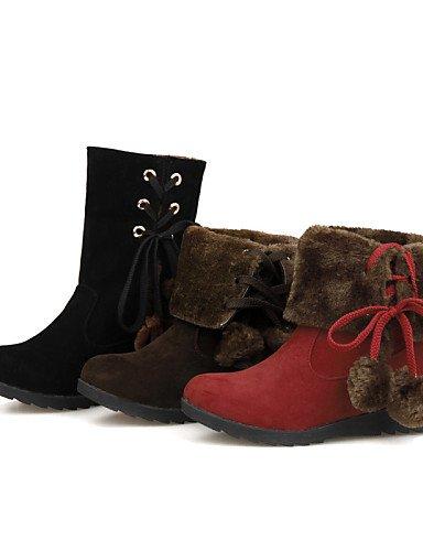 Brown Brown us5 us8 Eu39 La Marrón Punta Cuña Cn39 Vestido Redonda Negro Eu35 Mujer De Uk6 A Botas Vellón Xzz Cuñas Uk3 Zapatos Moda Rojo Tacón Cn34 Casual nHSgHqUw