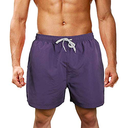 Men's Pocket Short Pants Casual Solid Color Straight Slim Fit Drawstring Trousers Shorts Work Trouser (M, Purple)