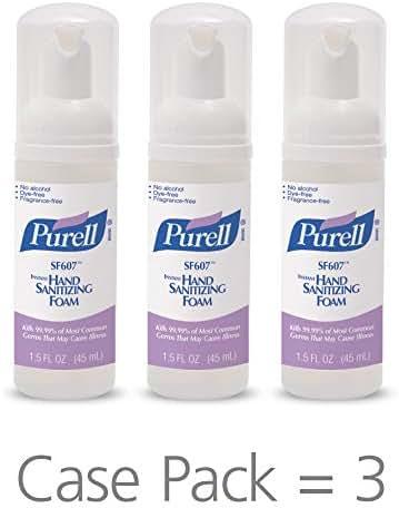 Purell SF607 Hand Sanitizer Foam, Alcohol Free Formulation, 45 mL Portable, Travel Sized Pump Bottle (Pack of 3) – 5684-08-EC