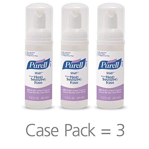 (PURELL SF607 Hand Sanitizer Foam, Alcohol Free Formulation, 45 mL Portable, Travel Sized Pump Bottle (Pack of 3) - 5684-08-EC)