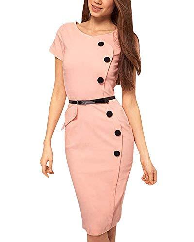 Nero 5 Con colore Elegante Manica A 5inch Rosa Corta Giallo S Abito Slim 34 Bottone 32 Donna bust Scuro Da Dimensione IwqY8ITx