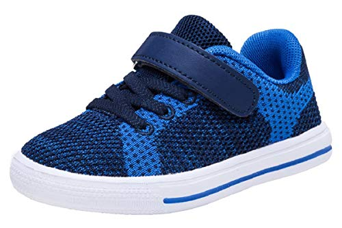 Skateboarding Boys Shoe (Zoneyue Boys Low Top Buckled Tennis Skate Shoes Bungee Straps Flat Sneakers (Toddler/Little Kid/Big Kid) (10 M US Toddler, Blue))