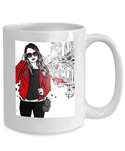 mug coffee tea cup beautiful girl long hair sunglasses jacket jeans fashion style clothing accessories beautiful 110z