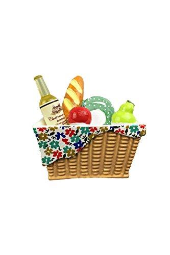 YOIL Imán para nevera, cocina, cesta de picnic llena de pan, vino ...