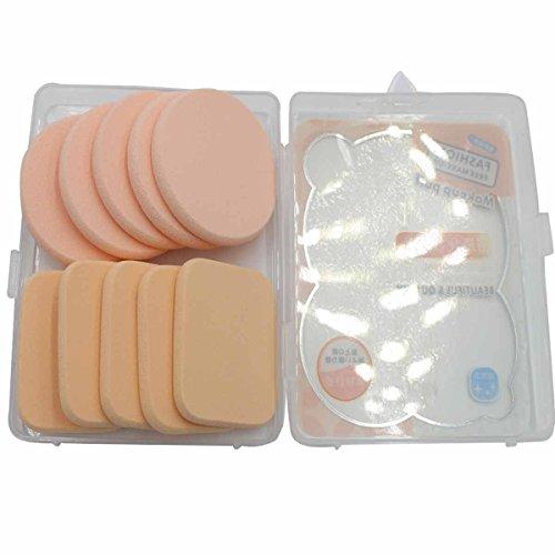 Mint Cheddar - Beauty Facial Cosmetic Powder Puff Makeup womens 10pcs (Round Sponges 5pcs,Square sponge 5pcs)