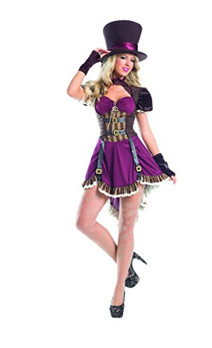 Adult Women's 3 Piece Sexy Steampunk Mad Hatter Halloween Party Costume (Mad Hatter Halloween Party)