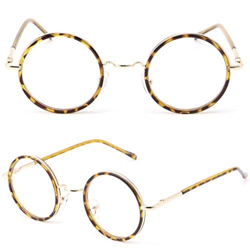 Itemap Men Women Retro Round Frame Vintage Eyeglasses Full Rim Glasses Spectacles 2017 - C3 Rims