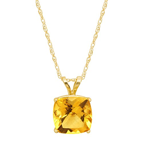 1 1/3 ct Natural Citrine Cushion-Cut Birthstone Pendant Necklace in 14K Gold