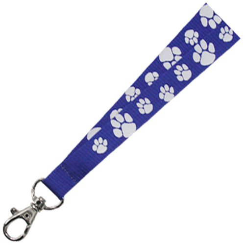 PinMarts Blue and White Paw Print School Mascot Sports Lanyard w/ Safety Release by PinMart