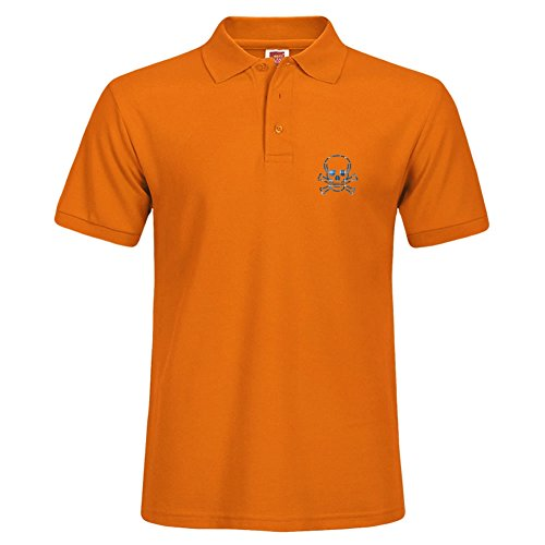 Stylish Orange Polo Shirt Outdoor Sport Small Short Shirt With Collar Skull & Cross Bones Blue Plaid - Allen Outlet Polo