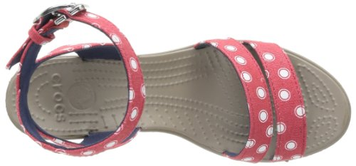 Crocs Womens Leigh Graphic Zeppa Rosso / Bianco
