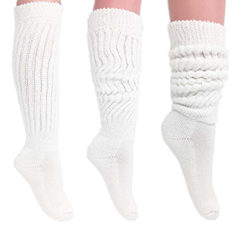 (Women's Extra Long Heavy Slouch Cotton Socks Made in USA Size 9 to 11 (3 Pairs - White))