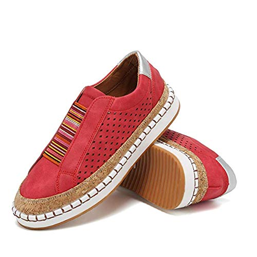 2019 New Slide Hollow-Out Round Toe Casual Women Sneakers,Breathable Slip On Flat Shoes for Woman 43 red