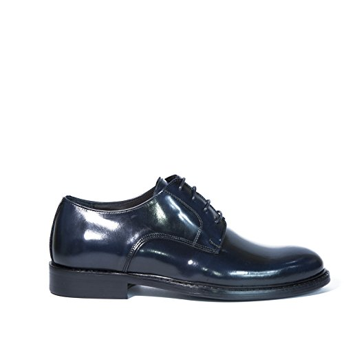 Scarpe Derby in Pelle di colore blu Calzature Artigianali Italiane Uomo Stringate 100% Vera Pelle Shoes Lace-up Shoes Made in Italy