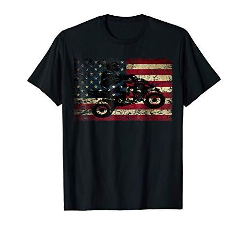 American USA Flag ATV Four Wheeler Quad Bike Brap T Shirt ()