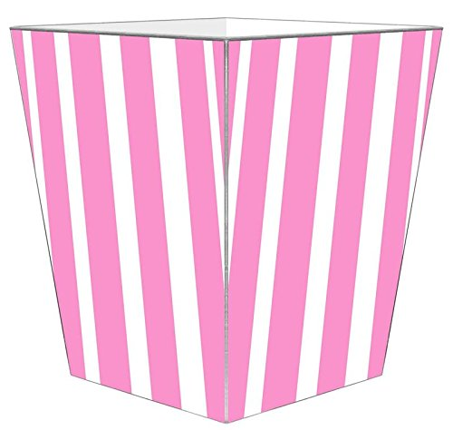 WB8420 - Pink Stripe with Green Monogram Wastepaper Basket