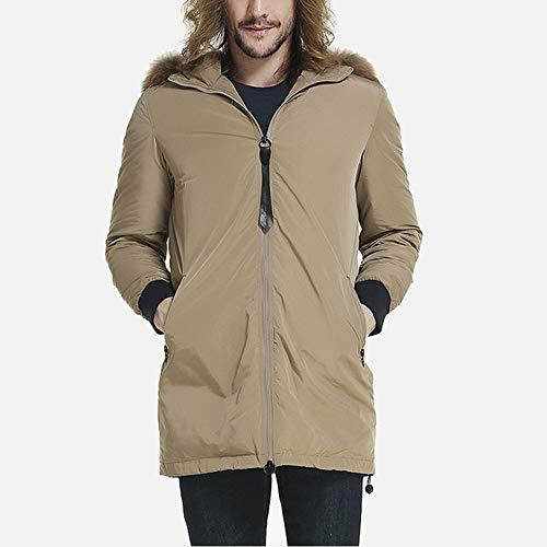 WUYEA Abrigo De Invierno De Los Hombres Chaqueta De Moda Casual Chaquetas con Capucha De La Moda Ideal En Clima Frío,Beige,M